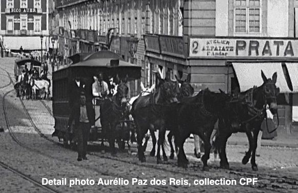 Le tramway à traction animale (6 chevaux ou 6 ânes) de Porto - vers 1890