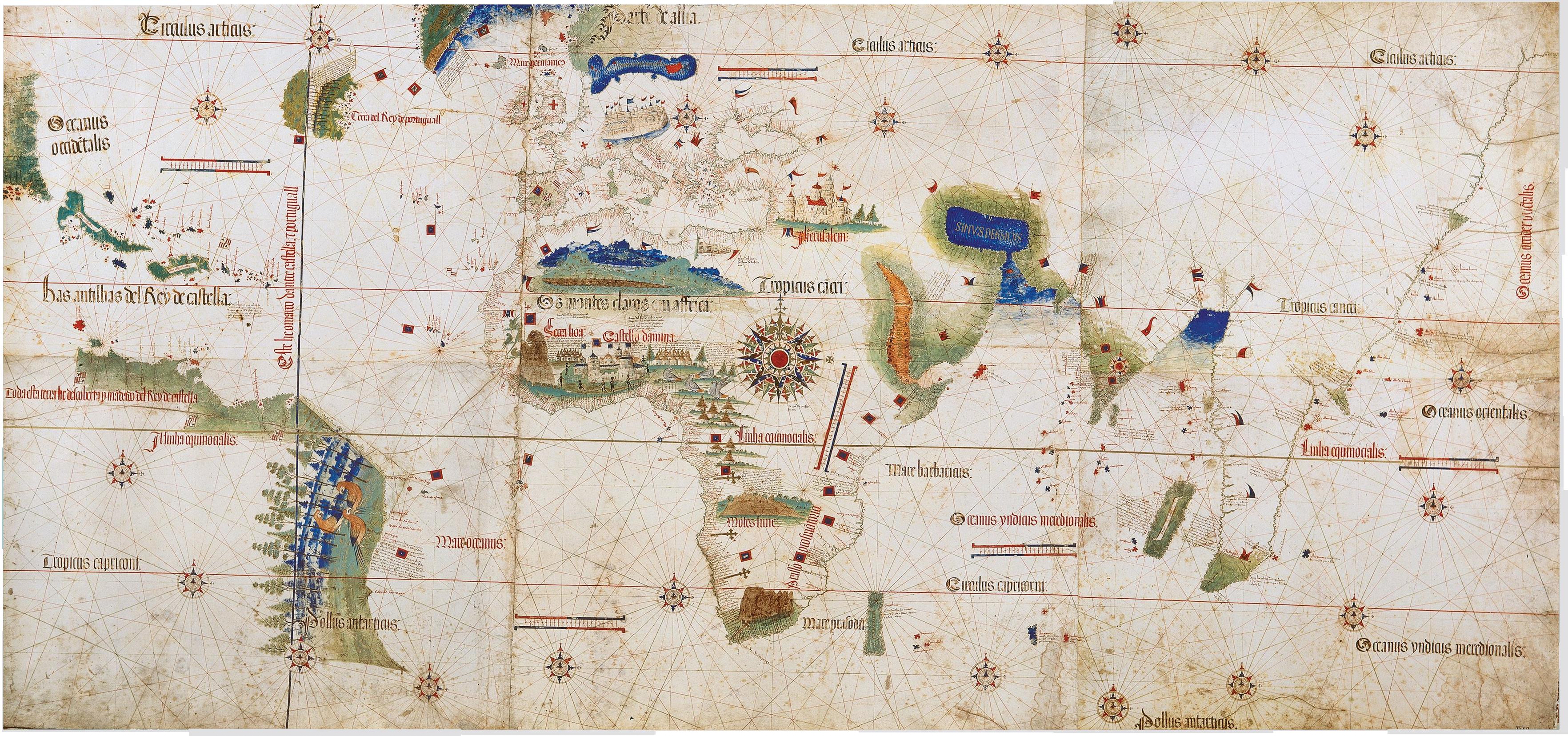 Le Planisphère de Cantino, la plus ancienne carte représentant les découvertes portugaises (vers 1502) - cliquez pour la taille réelle