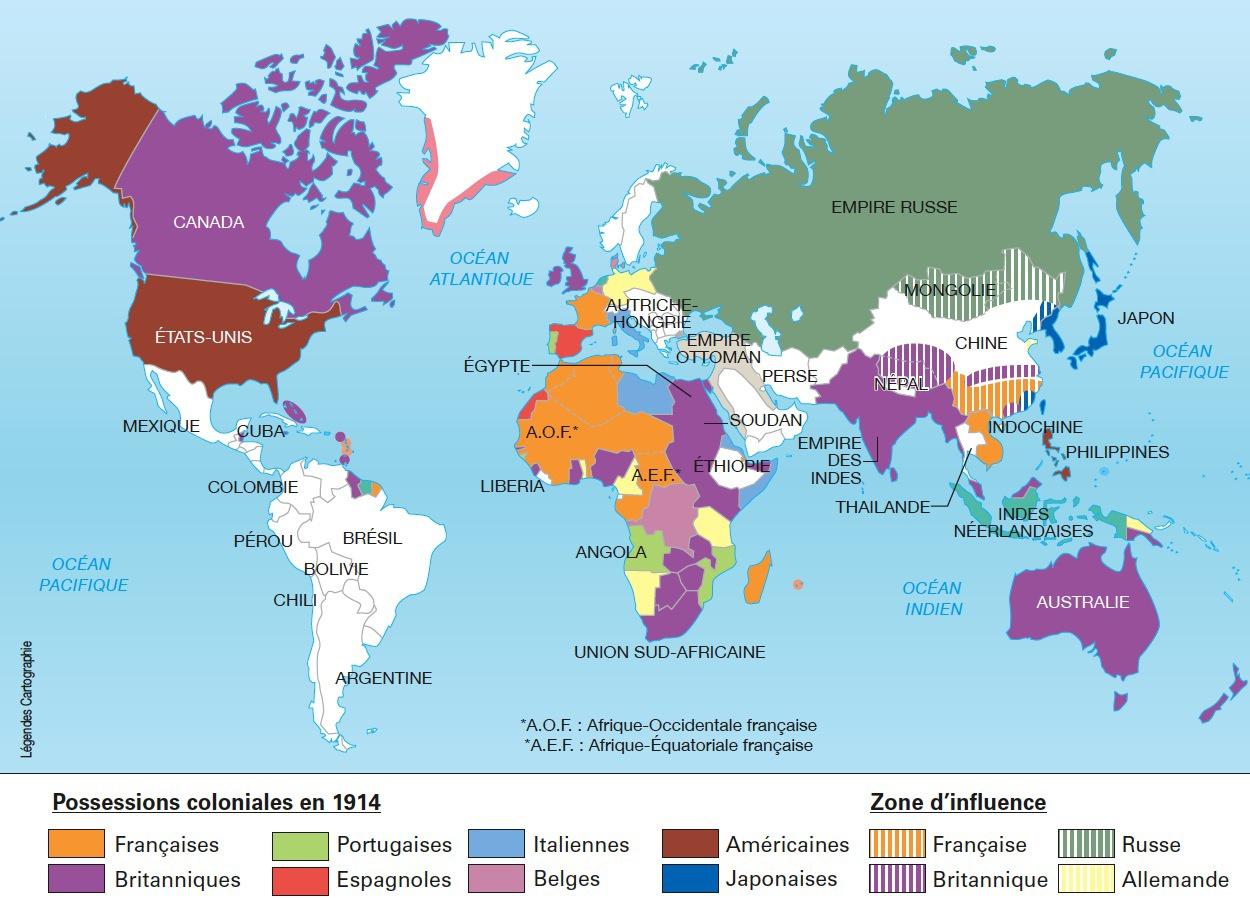 Les empires coloniaux en 1914