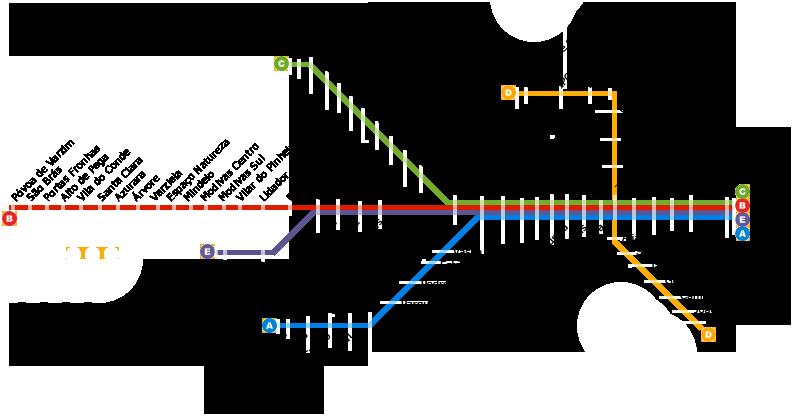 Plan du métro de Porto en 2016