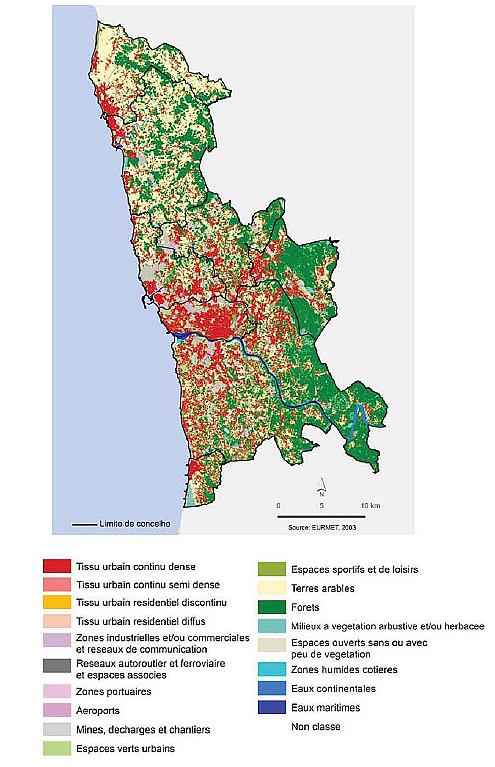 Usage des sols dans la métropole de Porto en 2003 - d'après Patricia Abrantes